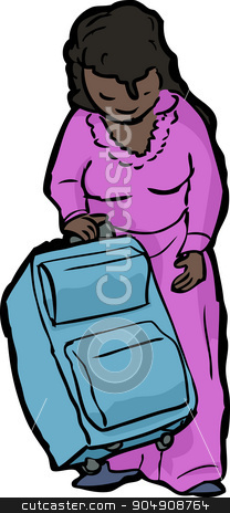 Woman with Suitcase stock vector clipart, Cartoon of single woman standing with suitcase by Eric Basir
