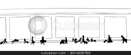 Outline of Travelers Walking stock vector clipart, Outline cartoon of travelers walking through hallway by Eric Basir