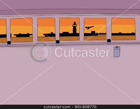 Empty Airport Interior stock vector clipart, Empty airport corridor background with airplane taking off by Eric Basir
