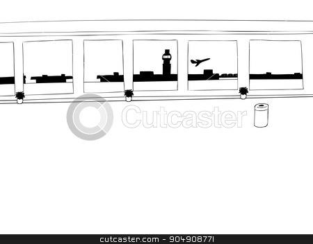 Outlined Airport Interior stock vector clipart, Empty airport corridor background outline with airplane taking off by Eric Basir