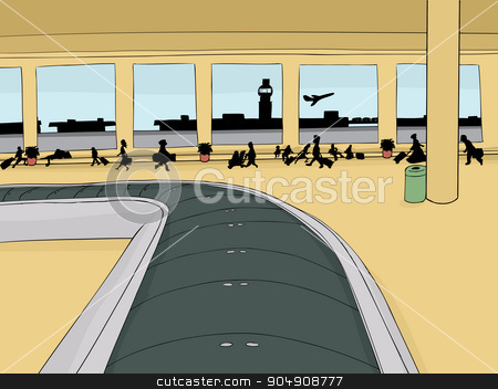 Empty Baggage Carousel with Crowd stock vector clipart, Empty baggage carousel inside of crowded airport with view outside by Eric Basir