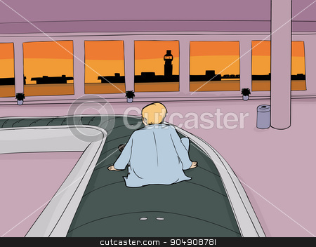 Lost Man in Baggage Claim stock vector clipart, Cartoon of lost man on carousel in empty airport by Eric Basir