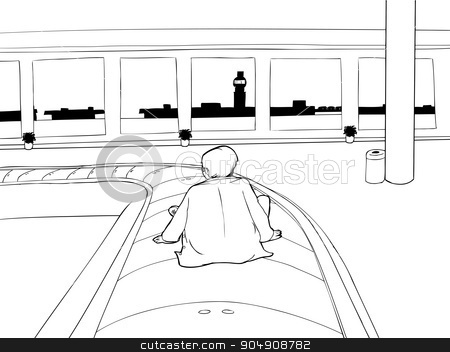 Lost Man in Airport Outline stock vector clipart, Outline of lost man on carousel in empty airport by Eric Basir