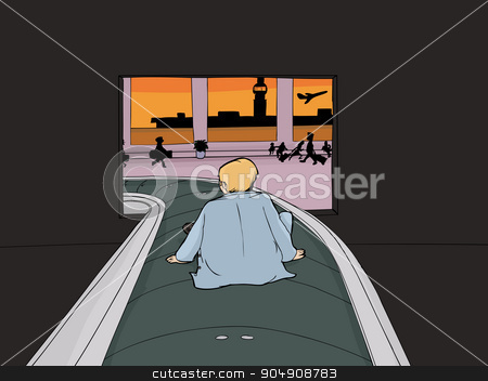 Man Emerging as Luggage stock vector clipart, Bewildered man seated on carousel as baggage in airport by Eric Basir