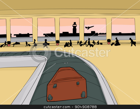 Suitcase on Baggage Carousel stock vector clipart, Point of view cartoon of single suitcase on baggage carousel by Eric Basir