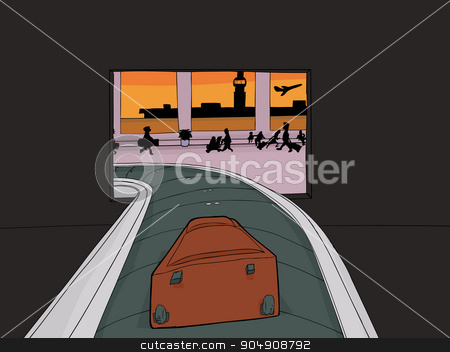 Suitcase Entering Crowded Airport stock vector clipart, Point of view cartoon of single suitcase entering baggage claim by Eric Basir