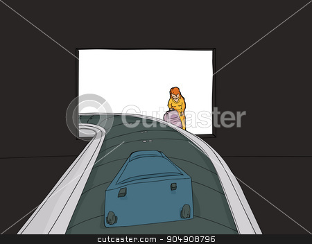 Woman at Baggage Claim stock vector clipart, Woman with suitcase near baggage claim carousel in airport by Eric Basir