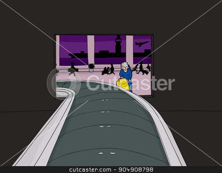 Lady Picking Up Suitcase in Airport stock vector clipart, Lady framed by baggage claim portal in airport by Eric Basir