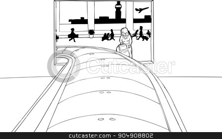 Outline of Woman Framed in Baggage Claim stock vector clipart, Outline of woman framed by baggage claim portal in airport by Eric Basir