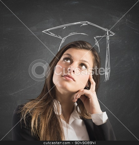 Graduate woman stock photo, Woman with hat degree drawn on head by Federico Caputo
