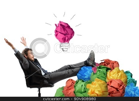 Exult for idea stock photo, Businessman sitting with pile of tangle paper by Federico Caputo