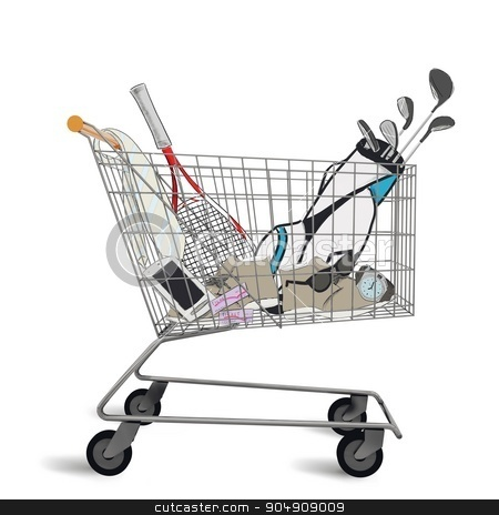 Shopping cart stock photo, Shopping cart full of purchases and tenders by Federico Caputo