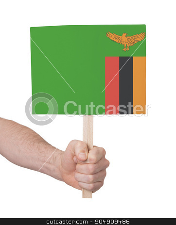 Hand holding small card - Flag of Zambia stock photo, Hand holding small card, isolated on white - Flag of Zambia by michaklootwijk
