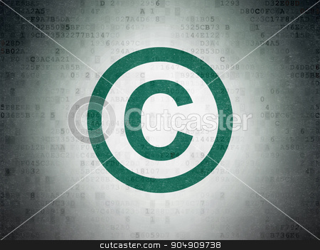 Law concept: Copyright on Digital Paper background stock photo, Law concept: Painted green Copyright icon on Digital Paper background by mkabakov