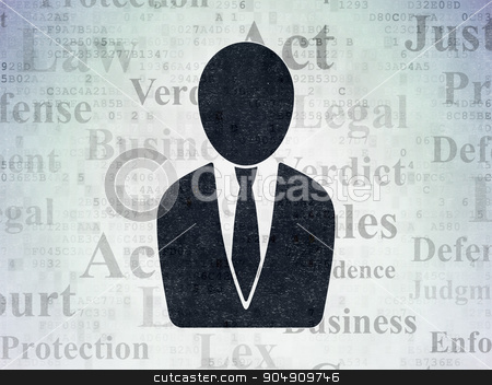 Law concept: Business Man on Digital Paper background stock photo, Law concept: Painted black Business Man icon on Digital Paper background with  Tag Cloud by mkabakov