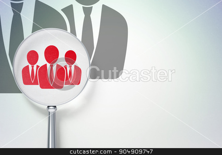 Law concept:  Business People with optical glass on digital background stock photo, Law concept: magnifying optical glass with Business People icon on digital background, empty copyspace for card, text, advertising by mkabakov