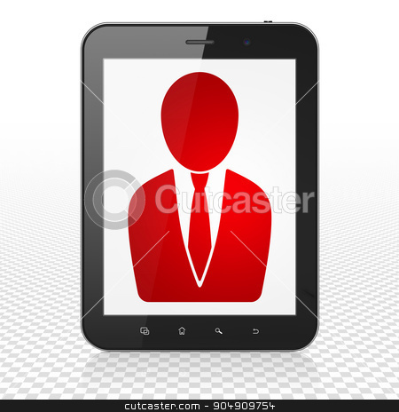 Law concept: Tablet Computer with Business Man on display stock photo, Law concept: Tablet Computer with  red Business Man icon on display,  Tag Cloud background by mkabakov