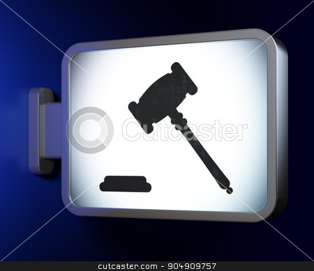 Law concept: Gavel on billboard background stock photo, Law concept: Gavel on advertising billboard background, 3d render by mkabakov