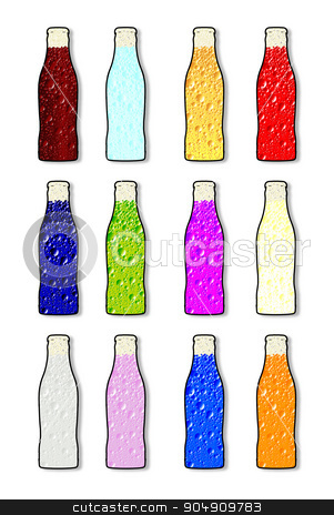 Soda Bottle Flavor Icons stock vector clipart, Soda bottle in various flavour icons over white by Kotto