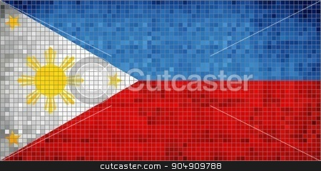 Philippine Flag stock vector clipart, Philippine Flag - Illustration,  Abstract Mosaic Philippines Flag,  Grunge mosaic flag of philippines,  Abstract grunge mosaic vector by Jugoslav