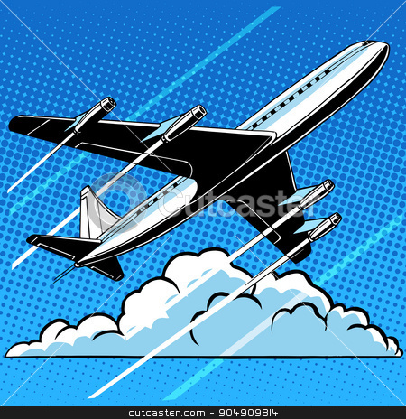 Passenger airplane in the clouds retro background stock vector clipart, Passenger airplane in the clouds retro background pop art  style. Travel and aviation. Transport and flights by studiostoks