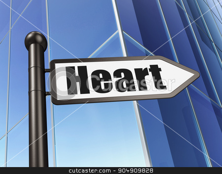 Healthcare concept: sign Heart on Building background stock photo, Healthcare concept: sign Heart on Building background, 3d render by mkabakov