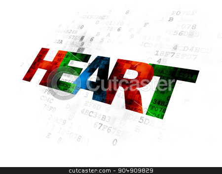 Health concept: Heart on Digital background stock photo, Health concept: Pixelated multicolor text Heart on Digital background by mkabakov