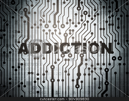 Health concept: circuit board with Addiction stock photo, Health concept: circuit board with  word Addiction, 3d render by mkabakov