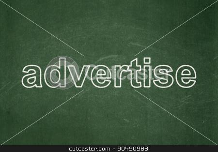 Marketing concept: Advertise on chalkboard background stock photo, Marketing concept: text Advertise on Green chalkboard background by mkabakov