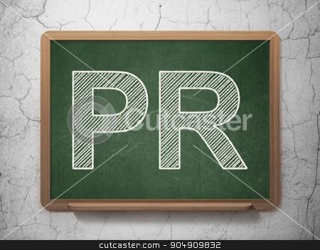 Marketing concept: PR on chalkboard background stock photo, Marketing concept: text PR on Green chalkboard on grunge wall background by mkabakov