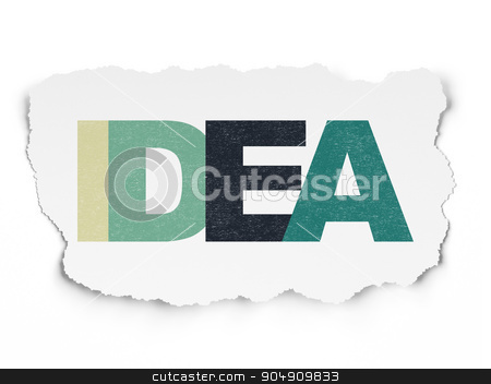 Advertising concept: Idea on Torn Paper background stock photo, Advertising concept: Painted multicolor text Idea on Torn Paper background by mkabakov