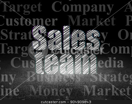 Marketing concept: Sales Team in grunge dark room stock photo, Marketing concept: Glowing text Sales Team in grunge dark room with Dirty Floor, black background with  Tag Cloud by mkabakov