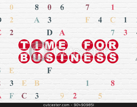 Time concept: Time for Business on wall background stock photo, Time concept: Painted red text Time for Business on White Brick wall background with Hexadecimal Code by mkabakov