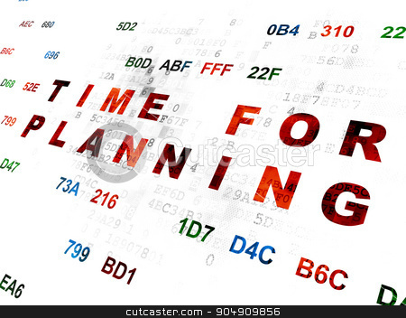 Time concept: Time for Planning on Digital background stock photo, Time concept: Pixelated red text Time for Planning on Digital wall background with Hexadecimal Code by mkabakov