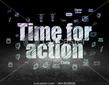 Time concept: Time for Action in grunge dark room stock photo, Time concept: Glowing text Time for Action,  Hand Drawing Time Icons in grunge dark room with Dirty Floor, black background by mkabakov
