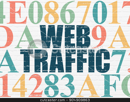 Web development concept: Web Traffic on wall background stock photo, Web development concept: Painted blue text Web Traffic on White Brick wall background with Hexadecimal Code by mkabakov