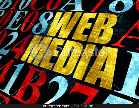 Web design concept: Web Media on Digital background stock photo, Web design concept: Pixelated yellow text Web Media on Digital wall background with Hexadecimal Code by mkabakov