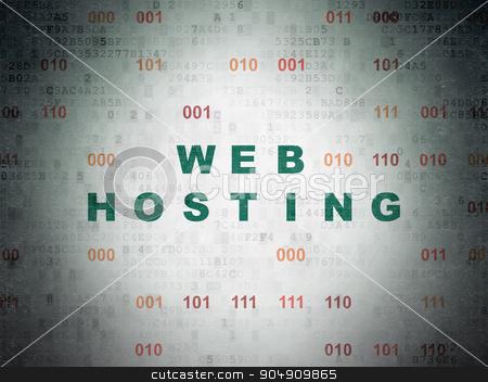 Web development concept: Web Hosting on Digital Paper background stock photo, Web development concept: Painted green text Web Hosting on Digital Paper background with Binary Code by mkabakov