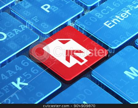 Web design concept: Upload on computer keyboard background stock photo, Web design concept: computer keyboard with Upload icon on enter button background, 3d render by mkabakov