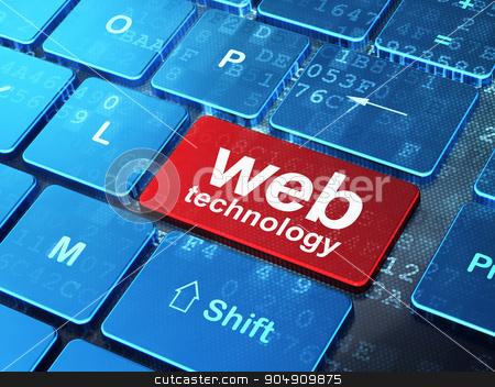 Web design concept: Web Technology on computer keyboard background stock photo, Web design concept: computer keyboard with word Web Technology on enter button background, 3d render by mkabakov