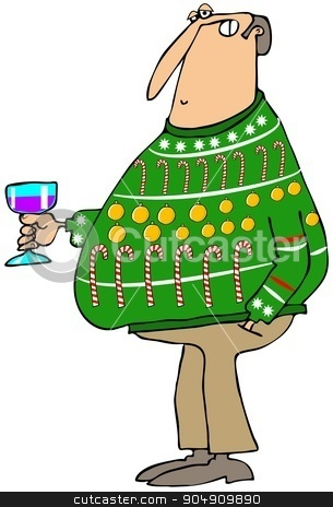 Man wearing an ugly Christmas sweater stock photo, Illustration depicting a man wearing an ugly Christmas sweater and holding a glass of wine. by Dennis Cox
