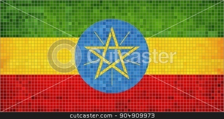 Ethiopian Flag stock vector clipart, Ethiopian Flag - Illustration,  Abstract Mosaic Flag of Ethiopia,  Grunge mosaic Ethiopia Flag,  Abstract grunge mosaic vector by Jugoslav