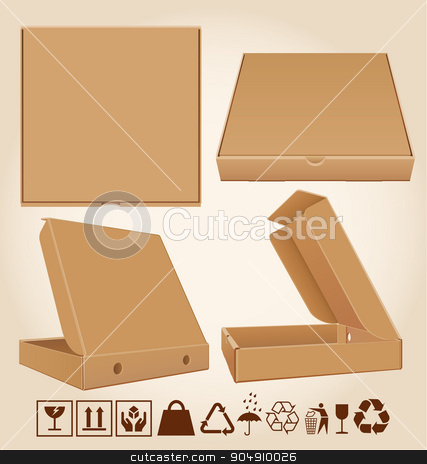 Four pizza box in different positions stock vector clipart, Four cardboard pizza box in different positions and packaging icons. by Gustavo Serrano