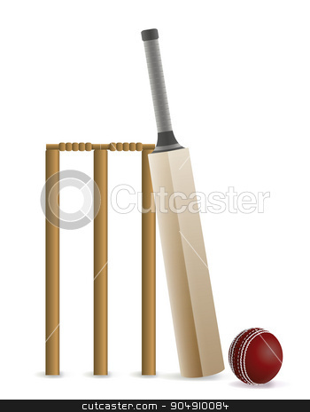 Cricket Bat, Ball, and Wicket Illustration stock vector clipart, Cricket bat, ball, and wicket isolated on white. Vector EPS 10 available. EPS file contains transparencies and gradient mesh. by Jason Enterline