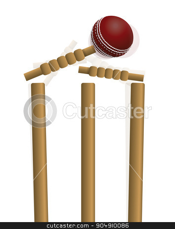 Cricket Ball Hitting the Wicket Illustration stock vector clipart, A cricket ball hitting the wicket isolated on white. Vector EPS 10 available. EPS file contains transparencies and gradient mesh. by Jason Enterline