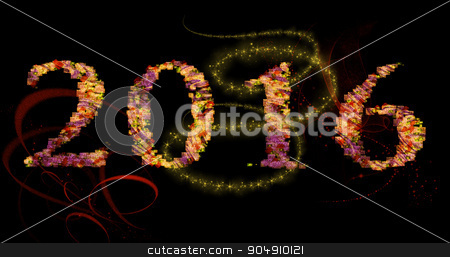 Happy New Year 2016 with floral text stock photo, Happy New Year 2016 illustration with floral text by ANTONIOS KARVELAS