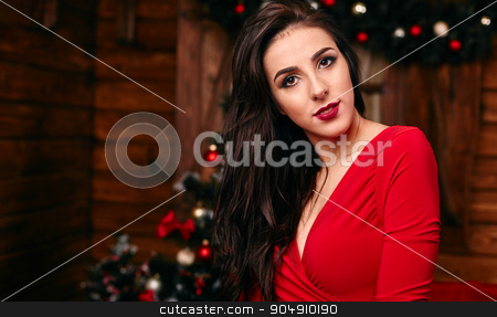 Young woman in red dress at Christmas decorated home stock photo, Young woman in  red dress at Christmas decorated home by mykhalets