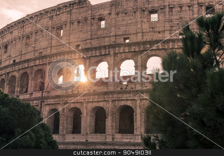 Rome, Italy: Colosseum, Flavian Amphitheatre stock photo, Rome, Italy: Colosseum, Flavian Amphitheatre, in the beautiful sunrise of Italian winter by krivinis