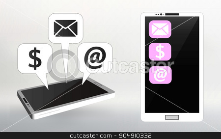 Set Flat vector illustration of modern Mobile phone with different icons stock vector clipart, Set Flat vector illustration of modern Mobile phone with different icons by Vladimir Khapaev