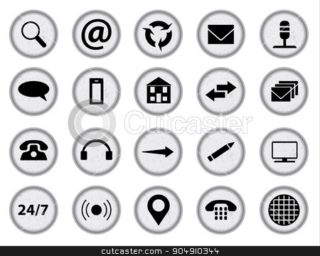 Web Icon Set stock vector clipart, Typewriter keys with inset web icons all over a white background by Kotto